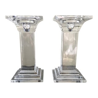 Art Deco Crystal Decor Pillar Candle Holders - A Pair