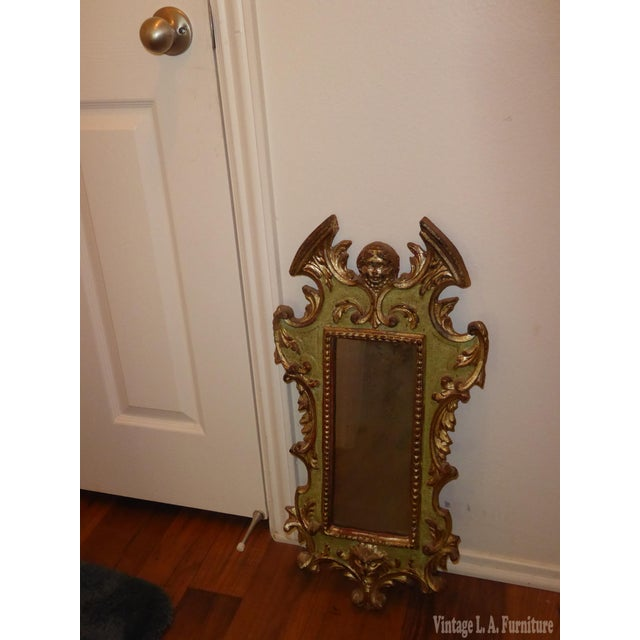 Vintage Rococo Green & Gold Gilt Carved Wood Mirror - Image 3 of 11