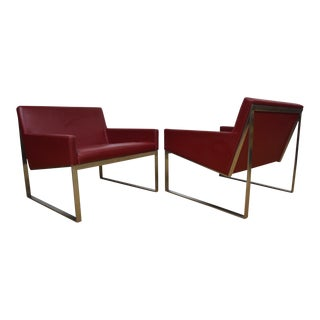 Bernhardt Red Leather Lounge Chairs- A Pair