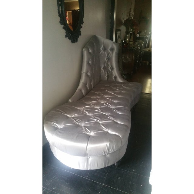 Silver Tufted Chaise Lounge - Image 5 of 5
