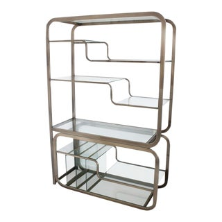 Milo Baughman Glass and Polished Bronze Slide Out Server Etagere