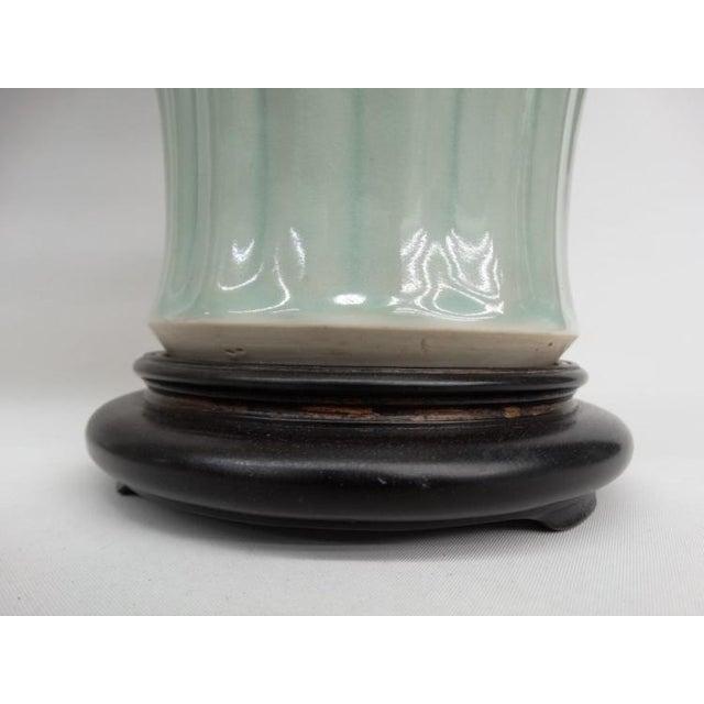 Antique Celadon Porcelain Lamps - Pair - Image 4 of 5
