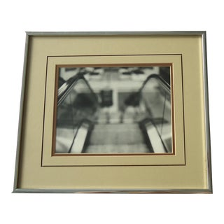"Vintage Industrial ""Blurry Escalator"" Art Photo"
