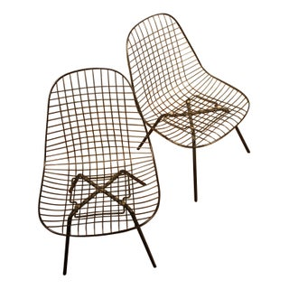 Early Low Eames X Base Wire Shell Chairs - A Pair