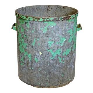 Vintage Green Metal Factory Bin