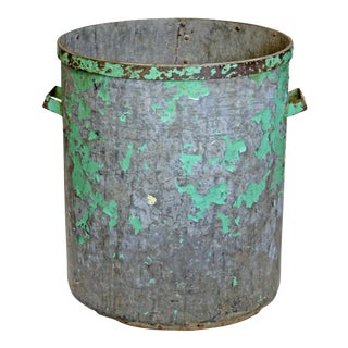 Vintage Green Metal Factory Bin