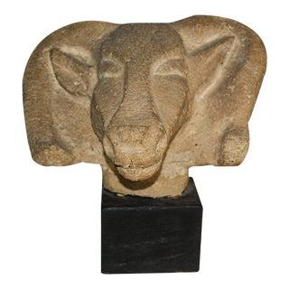 Richmond Professional Institute Limestone Ram's Head Sculpture