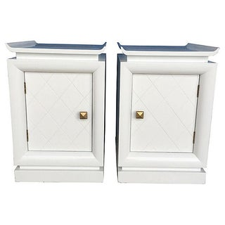 White Lacquered Pagoda Nightstands - A Pair