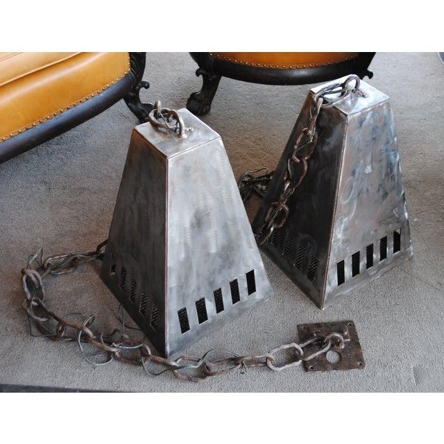 Brushed Steel Industrial Pendant Light Fixture