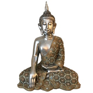 Modern Silver Seated Buddha