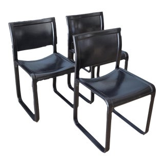 Matteo Grassi Sistina Strap Black Leather Dining Chairs - Set of 3