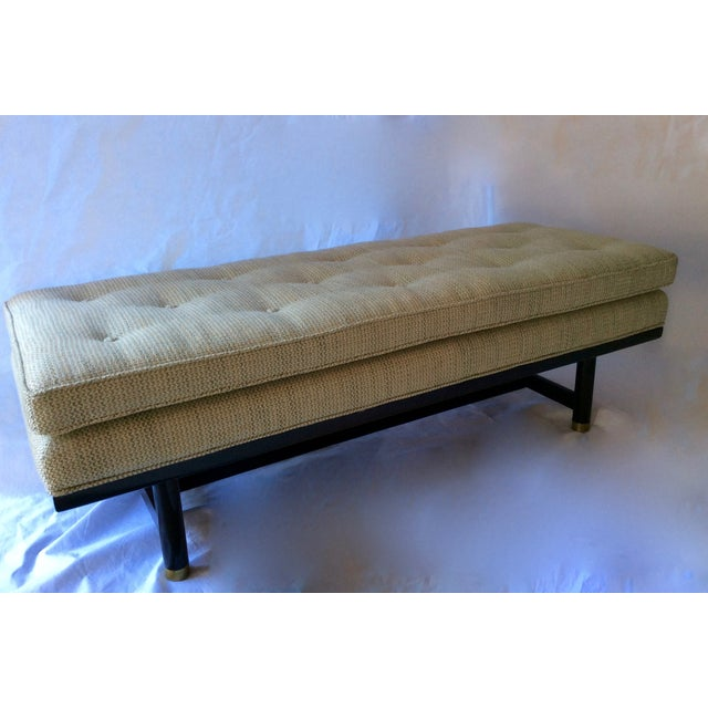 Mid-Century Modern Tufted Walnut Bench - Image 3 of 10