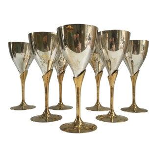 Art Deco Style Brass Silver Plate Wine Stems - Set of 7