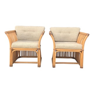 Vintage Rattan Bamboo Club Chairs- A Pair