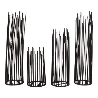 Vintage Brutalist Metal Decorative Table Sculptures - Set of 4
