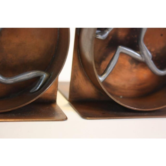 Image of Mid-Century Modern Copper and Pewter Bookends Signed Nelson