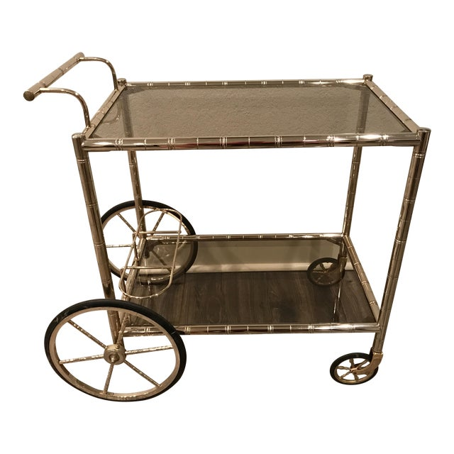 European Bar Cart With Bamboo Accents - Image 1 of 8