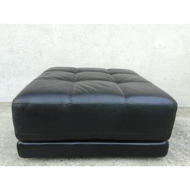 Mid-Century Black Leather Ottoman - Image 6 of 8
