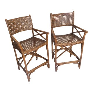 Vintage McGuire Bar Chairs, A Pair