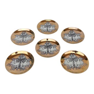 Piero Fornasetti Gilt Roman Chariot Coasters - Set of 6