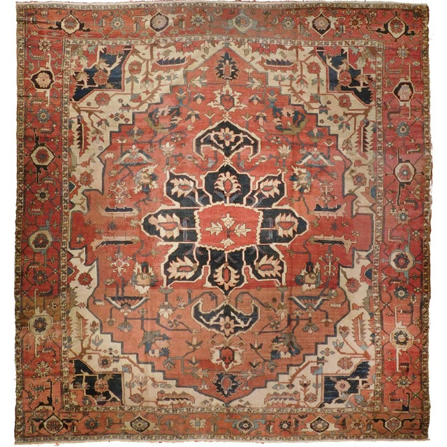 Antique Persian Karaja Hand-Knotted Luxury Rug
