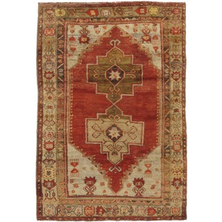 "Vintage Turkish Oushak Hand-Knotted Rug, 4'5"" x 6'4"