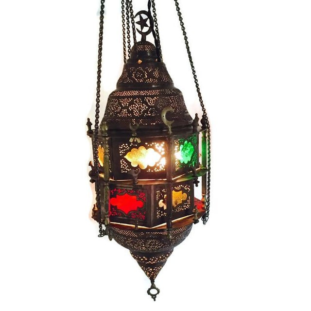 Antique Turkish Pierced Brass Pendant Lamp - Image 4 of 10