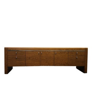 MASSIVE 7.5ft Tiger Oak and Chrome Mid Century Credenza