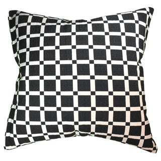 Natural Geo Geometric Black & White Cotton Throw Pillow