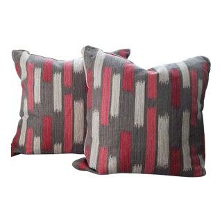Hot Pink & Gray Savoy Zippered Pillows - a Pair