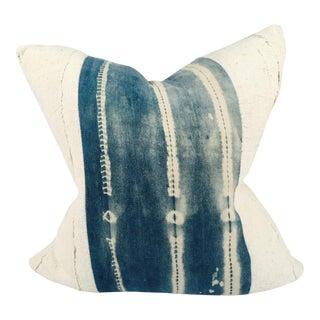 Mixed White and Vintage Indigo Mudcloth Pillow