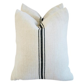 French Grain Sack Down & Feather Pillows - A Pair