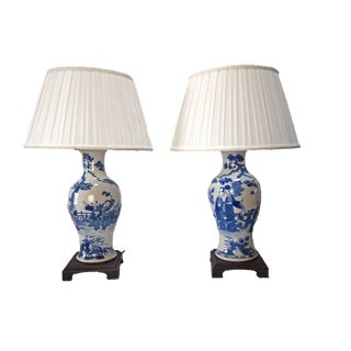 19th C. Chinese Blue & White Table Lamps- A Pair