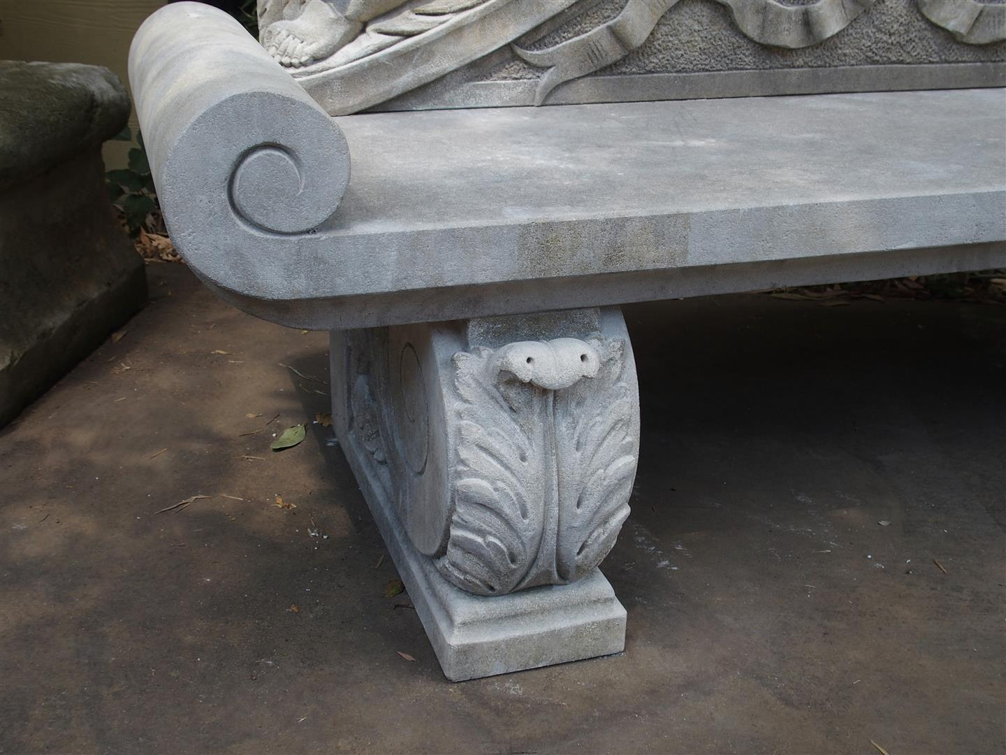 Limestone Bench Part - 42: Winged Cherubs Carved Limestone Garden Bench From Italy - Image 5 Of 11