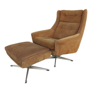 John Stuart Danish Mid-Century Suede Swivel Chair& Ottomans-S/2