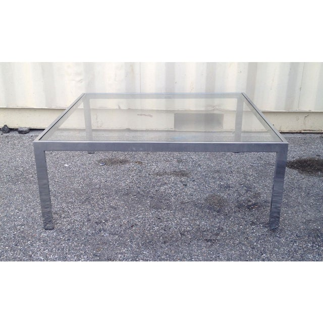 Image of Square Glass & Chrome Coffee Table