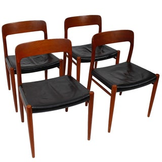 Moller #75 Teak & Leather Chairs- Set of 4
