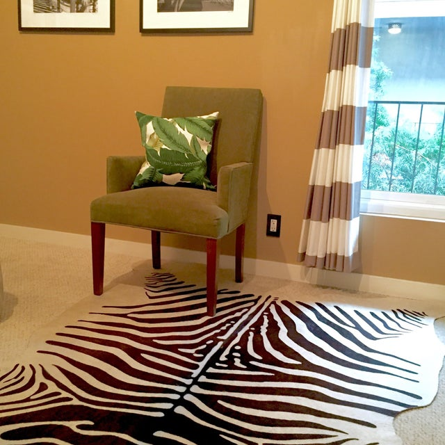 Zebra Stenciled Black Ivory Hide Rug - 6'10 X 5'7 - Image 7 of 9