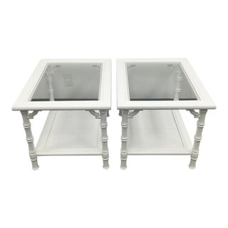 White Faux Bamboo Side Tables - A Pair