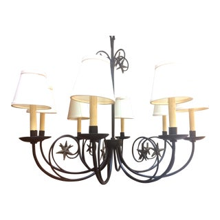 Custom Made Wrought Iron Eight Light Chandelier