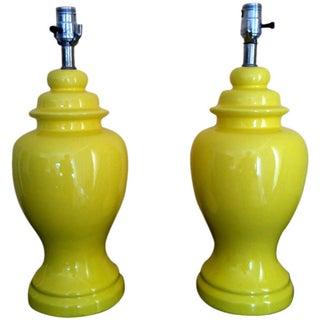 Mid-Century Ceramic Yellow Lamps - Pair