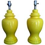 Image of Mid-Century Ceramic Yellow Lamps - Pair