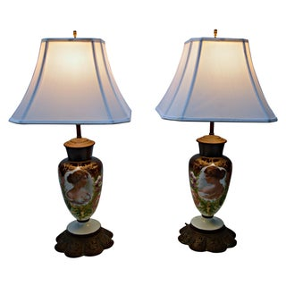 Antique Porcelain Lamps - Pair