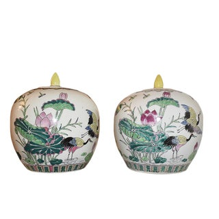 Antique Asian Famille Rose Chinoiserie Ginger Jars - a Pair