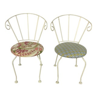 Mid-Century Painted Cast Iron Chairs - A Pair