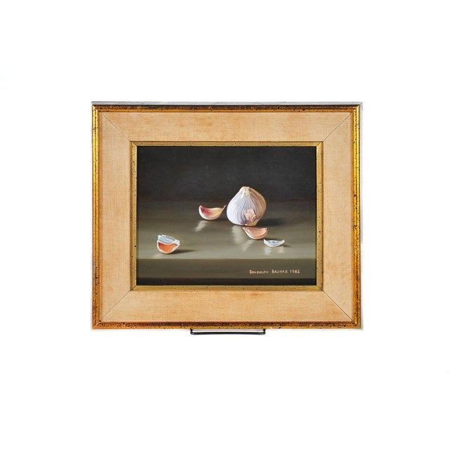 Image of Garlic & Eggs Still Life Oil Paintings- A Pair