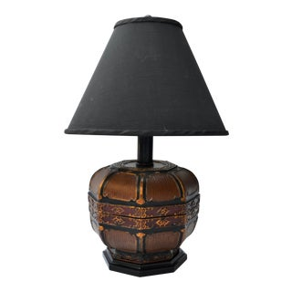 Antique Chinese Woven Box Custom Lamp