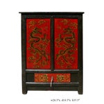 Image of Chinese Red Dragons Side Table Nightstand