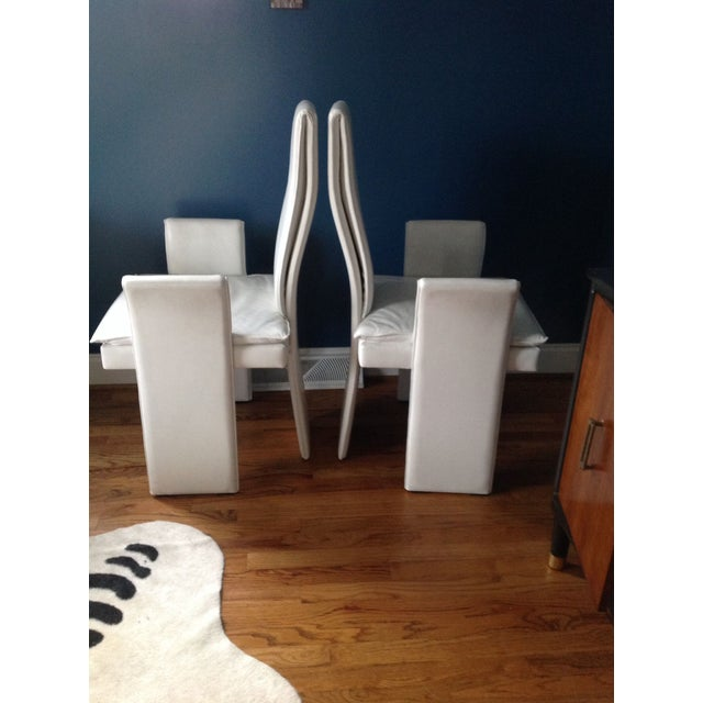 Vintage White Leather Chairs - A Pair - Image 3 of 4