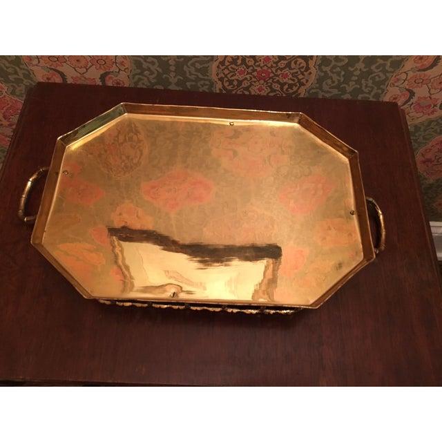 Hollywood Regency Bamboo Brass Tray - Image 4 of 5